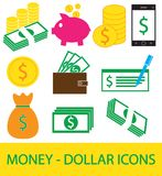 Set, collection or pack of Dollar currency icon or logo . Coins, notes or bills, cell or mobile phone, wallet or check. Symbol for United States of America Royalty Free Stock Photography