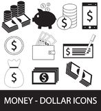 Set, collection or pack of Dollar currency icon or logo . Coins, notes or bills, cell or mobile phone, wallet or check. Symbol for United States of America Royalty Free Stock Photo