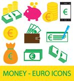 Set, collection or pack of Euro currency icon or logo . Coins, notes or bills, cell or mobile phone, wallet or check. Symbol for European Union bank, banking Stock Photos