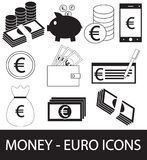 Set, collection or pack of Euro currency icon or logo . Coins, notes or bills, cell or mobile phone, wallet or check. Symbol for European Union bank, banking Royalty Free Stock Photography