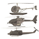 Set, collection, pack helicopters Stock Photography