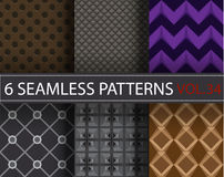 Set, collection, pack universal vector seamless patterns, tiling. Geometric ornaments. Royalty Free Stock Photography