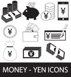 Set, collection or pack of Yen, Yuan or Renminbi currency icon or logo. Coins, notes or bills, cell or mobile phone or check. Symbol for Japanese or Chinese Royalty Free Stock Images