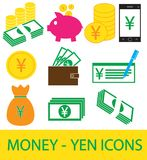 Set, collection or pack of Yen, Yuan or Renminbi currency icon or logo. Coins, notes or bills, cell or mobile phone or check. Symbol for Japanese or Chinese Stock Photo