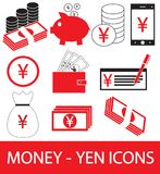 Set, collection or pack of Yen, Yuan or Renminbi currency icon or logo. Coins, notes or bills, cell or mobile phone or check. Symbol for Japanese or Chinese Royalty Free Stock Photos