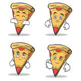 Set collection pizza character cartoon. Vector illustration Stock Photography