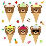 Set collection of six brown bears in the image of ice cream. A frosting ice cream with a berry, in a cartoon style, sits. In a waffle cone on the head. Fruits stock illustration