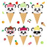 Set collection of six cute panda in the image of ice cream. A frosting ice cream with a berry, in a cartoon style, sits. In a waffle cone on the head. Fruits vector illustration