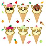 Set collection of six dog corgi puppy in the image of ice cream. A frosting ice cream with a berry, in a cartoon style. Sits in a waffle cone on the head royalty free illustration