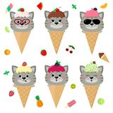 Set collection of six gray cat in the image of ice cream. A frosting ice cream with a berry, in a cartoon style, sits in. A waffle cone on the head. Fruits and stock illustration