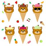 Set collection of six red cat in the image of ice cream. A frosting ice cream with a berry, in a cartoon style, sits in. A waffle cone on the head. Fruits and stock illustration