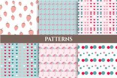 Set, collection of six romantic, blue, pink Stock Photos