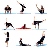 Set collection of sporty man doing yoga on white Royalty Free Stock Photos