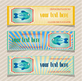 Set, collection of three, blue, yellow, retro. Group of colorful, beautiful banners with fish, striped background Royalty Free Stock Image