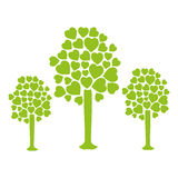Set collection trees with leafy branches in heart shape form Royalty Free Stock Images