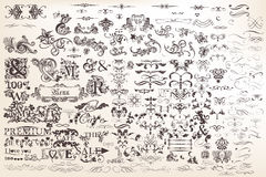 Set or collection of vector calligraphic elements and page decor Stock Images