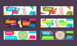 Set collection of vector horizontal promotion banners Royalty Free Stock Photos