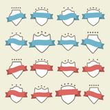 Set collection of vector logo badges with shields wrapped red and blue ribbons. Stock Photos