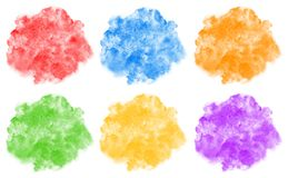 Collection of rainbow colors watercolor rounded backgrounds Royalty Free Stock Image