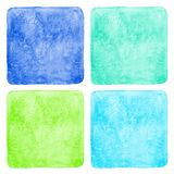 Set of colorful square watercolor backgrounds vector illustration