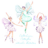 Set, collection of watercolor ballet dancers with butterfly wings illustrations royalty free illustration
