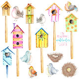 Set, collection of watercolor colorful birdhouses, cute birds and nests illustrations. Hand drawn isolated on a white background Stock Image