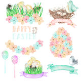 Set, collection of watercolor Easter illustrations Royalty Free Stock Photo