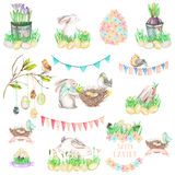 Set, collection of watercolor Easter illustrations Stock Images