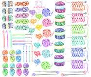 Set, collection with watercolor knitting elements: yarn, knitting needles and crochet hooks Royalty Free Stock Image
