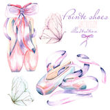 Set, collection of watercolor pointe shoes and butterflies illustration. Hand drawn isolated on a white background Royalty Free Stock Photography