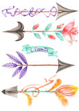 Set (collection) with watercolor romantic arrows Royalty Free Stock Photo