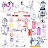 Set, collection of watercolor sewing elements royalty free illustration
