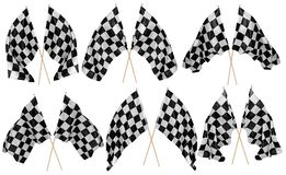 Set collection of waving crossed cross black white chequered flag wooden stick motorsport sport and racing concept isolated. Set collection of waving crossed royalty free stock image