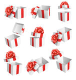 Set Collection of White Celebration Gift Boxes with Red Bows Iso Royalty Free Stock Images