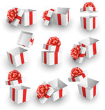 Set Collection of White Celebration Gift Boxes with Red Bows Iso Stock Images