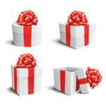 Set Collection of White Celebration Gift Boxes with Red Bows Iso Stock Photo