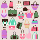 Set  of collection with Women handbags and travel  Royalty Free Stock Photos