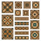 Set collections of geometrical borders and tiles Stock Photo