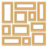 Set collections of golden empty frames. With shadows for your art, text or photo.  on white background. Vector illustration Royalty Free Stock Images