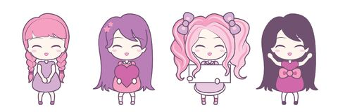 Set Collections Of Cute Girls Holding Hearts And Frames. Royalty Free Stock Image