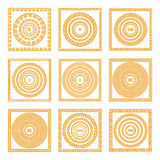 Set collections of old greek ornaments. Orange old style borders on the dark background. Ethnic patterns. Vector illustrations. Art Stock Photo