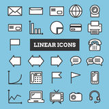 Set of coloful linear web icons: business, media, communication Royalty Free Stock Photo