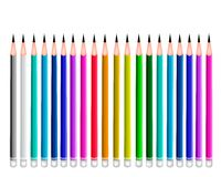 Set of Coloful Sharpened Pencils on White Backgrou Stock Photo