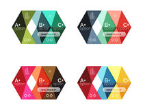 Set of color abstract arrow option infographic templates. Vector backgrounds for workflow layout, diagram, number options or web design Stock Images