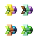 Set of color abstract arrow option infographic templates. Vector backgrounds for workflow layout, diagram, number options or web design Royalty Free Stock Photography