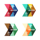 Set of color abstract arrow option infographic templates. Vector backgrounds for workflow layout, diagram, number options or web design Royalty Free Stock Photos