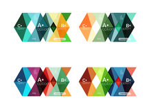 Set of color abstract arrow option infographic templates. Vector backgrounds for workflow layout, diagram, number options or web design Stock Photos