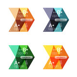 Set of color abstract arrow option infographic templates. Vector backgrounds for workflow layout, diagram, number options or web design Royalty Free Stock Images