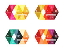 Set of color abstract arrow option infographic templates. Vector backgrounds for workflow layout, diagram, number options or web design Royalty Free Stock Photo