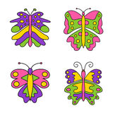 Set of color abstract butterfly isolated Stock Photography